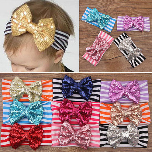 MilkySkinForever Toddler Baby Girl Striped Hair Band Princess Sequins Bow Headband Cute Headwear