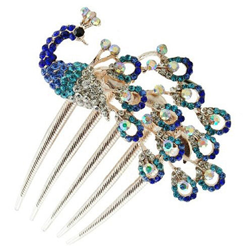 MilkySkinForever Women Lovely Vintage Peacock Rhinestone Hair Clip Hair Comb Beauty Tool Jewelry