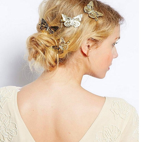 MilkySkinForever Women's Hollow Golden Color Butterfly Hair Clip Hairpin Bridal Hair Accessory