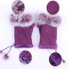 Load image into Gallery viewer, Girls Women Winter Fashion Warm Faux Rabbit Fur Soft Fingerless Gloves Mitts
