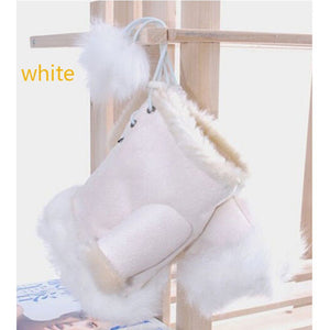 Girls Women Winter Fashion Warm Faux Rabbit Fur Soft Fingerless Gloves Mitts