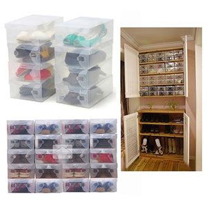 MilkySkinForever 10 x Clear Plastic Shoe Storage Transparent Stackable Foldable Tidy Organizer Box