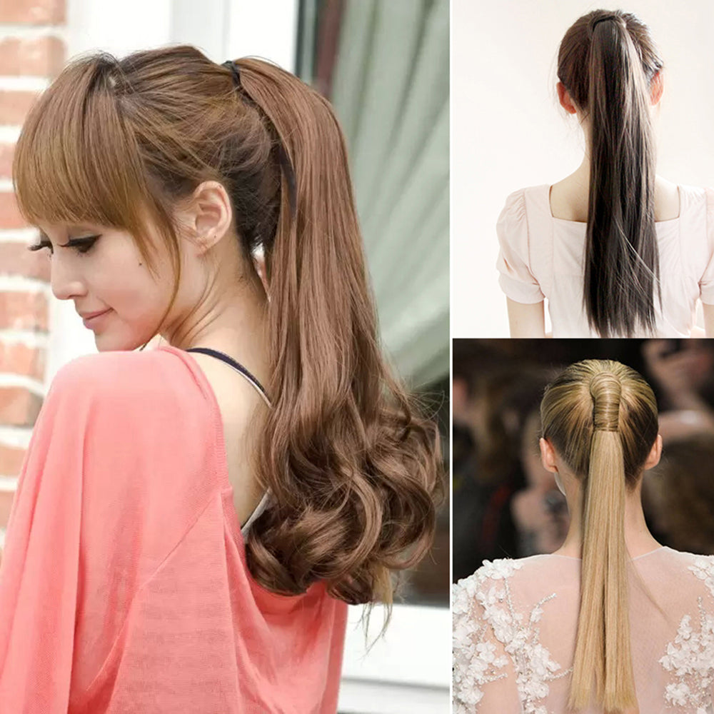 MilkySkinForever Long Straight Curly Ponytail Hair Extension Wrap Around Ribbon Clip-in Hairpiece
