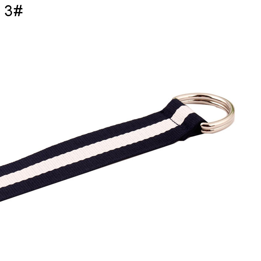 MilkySkinForever Dual D Ring Color Block Stripe Jeans Belt Canvas Strap Lady Decorative Waistband