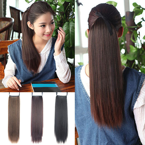 MilkySkinForever Women's Fashion Long Straight Synthetic Ponytail Hair Extensions Hair Piece Wigs