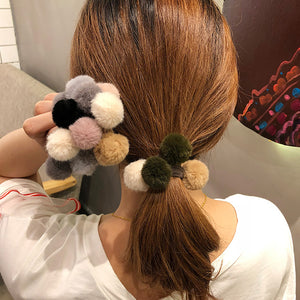 MilkySkinForever Fashion Soft Plush Pompom Women Girl Hair Tie Rope Ponytail Holder Headwear