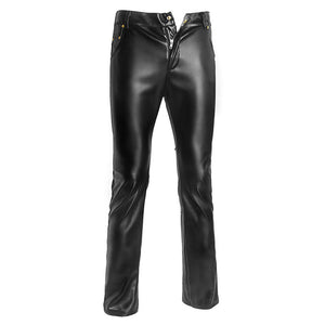 MilkySkinForever Night Club Motorcycle Biker Men Faux Leather Stretchy Pencil Pants Long Trousers