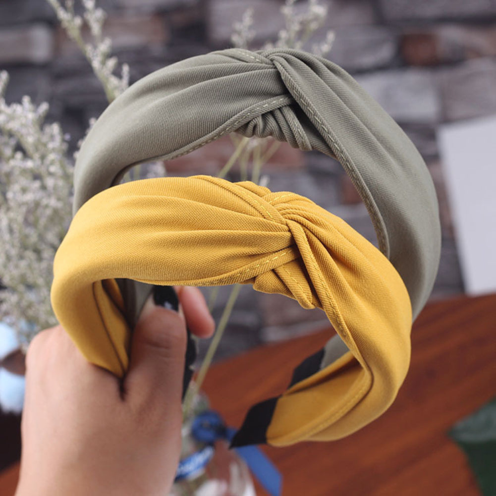 MilkySkinForever Sweet Cloth Women Headband Hairband Wide Solid Color Pleated Hair Hoop Decor