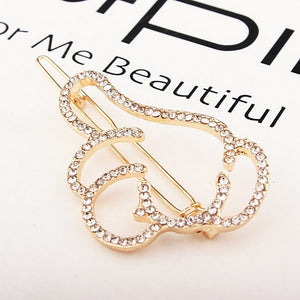 MilkySkinForever Fashion Hollow Thumbs Up Shape Women Rhinestones Hair Clip Hairclip Barrette