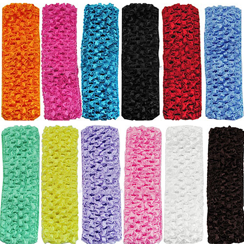 MilkySkinForever 12Pcs Toddler Baby Kid Girl 12 Colors 1.5 Inch Crochet Headbands Hair Bands