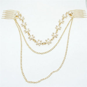Women's Fashion Wedding Accessories Exquisite Tassel Hair Comb Chain