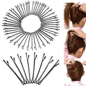 MilkySkinForever 50 Pcs Metal Waved Hair Clips Bobby Salon Pins Grips Hairpins Barrette Black