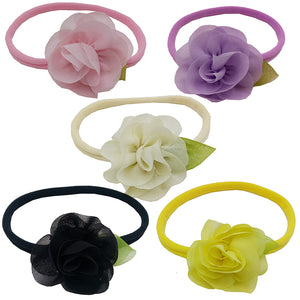 MilkySkinForever 5Pcs Baby Kids Toddler Rose Flower Leaf Elastic Headwear Headband Accessory