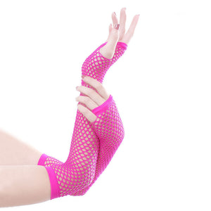 MilkySkinForever Sexy Women Solid Color Fishnet Half Hand Fingerless Long Gloves with Thumb Hole