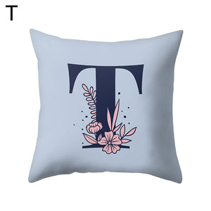 MilkySkinForever Modern Capital Letter Flower Pillow Case Waist Throw Cushion Cover Home Decor
