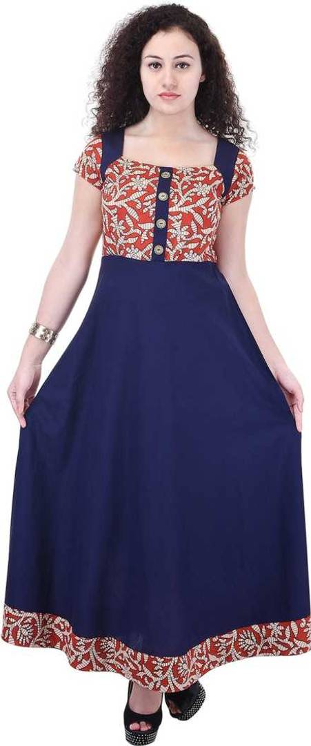 Women's Blue Printed Cotton Kurta