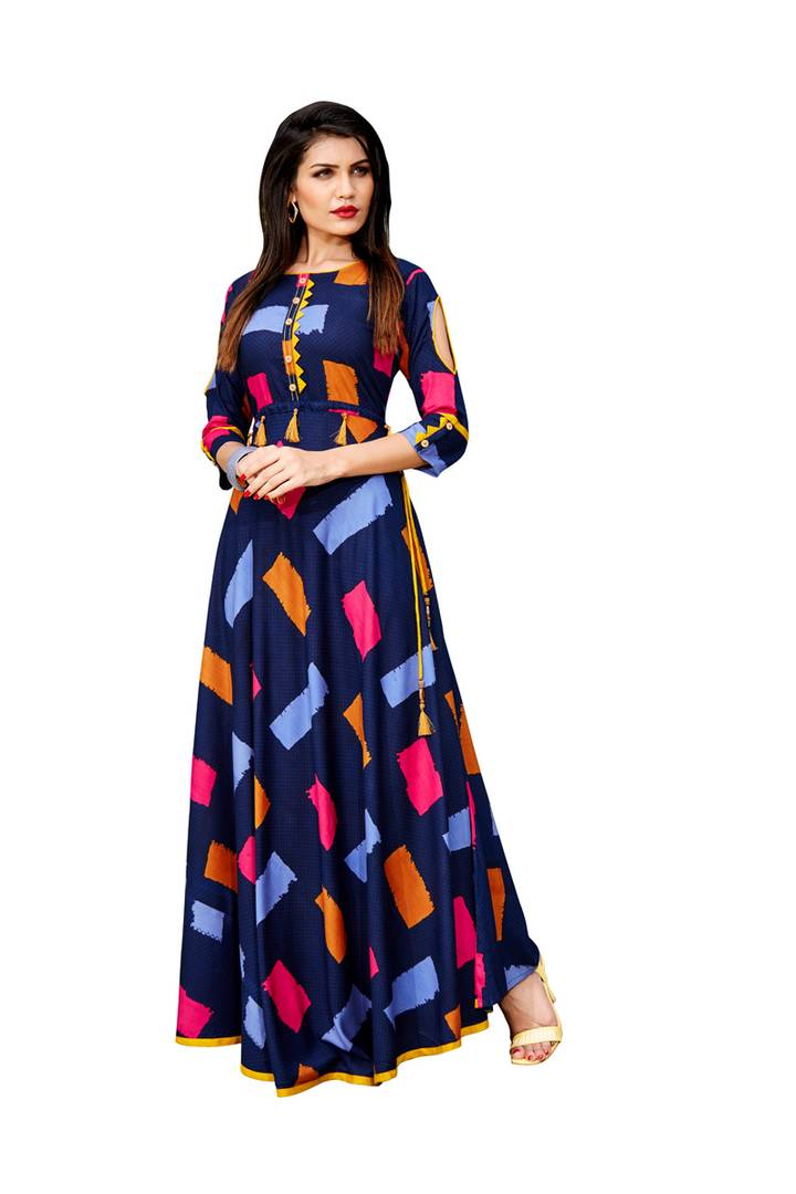 Multicolored  Rayon Anarkali Kurti