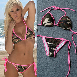 MilkySkinForever Women's Sexy Camouflage Bandage Push-up Bra + Briefs Summer Swimsuit Bikini Set