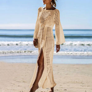 MilkySkinForever Summer Women Hollow Knitted Long Sleeve High Split Bikini Cover Up Maxi Dress