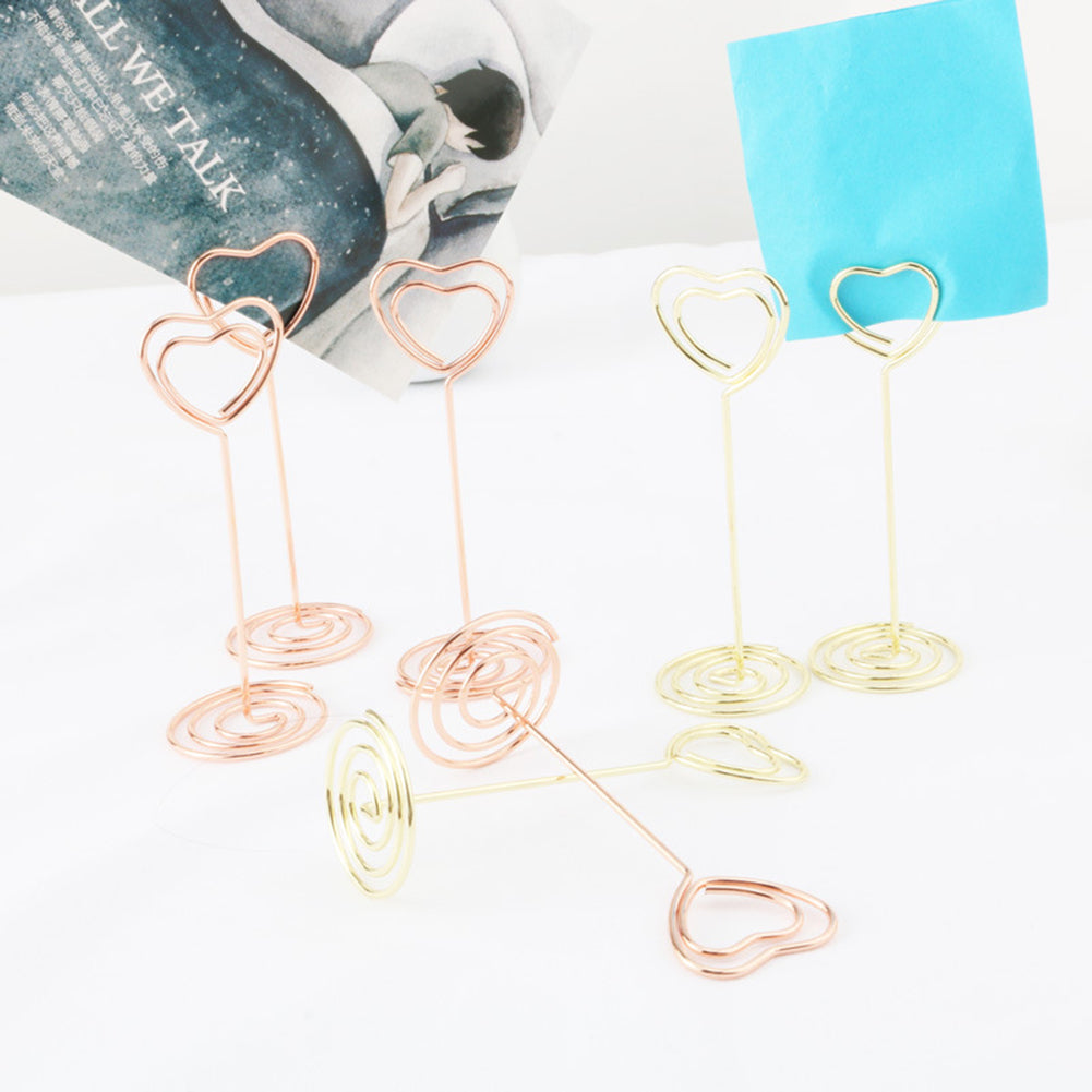 MilkySkinForever 10Pcs Love Heart Table Number Card Holders Photo Picture Stand for Wedding Party