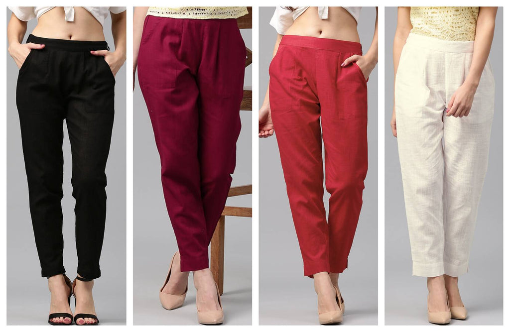 Pack Of 4 Cotton Flex Casual Solid Trouser Pants