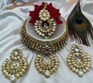 Antique Gold Plated Kundan Bridal Jewellery Set