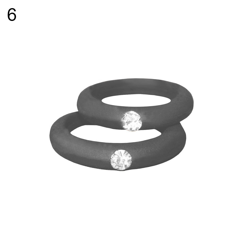 MilkySkinForever Women Fashion Silicone Wedding Band Rhinestone Ring Jewelry Valentine's Day Gift