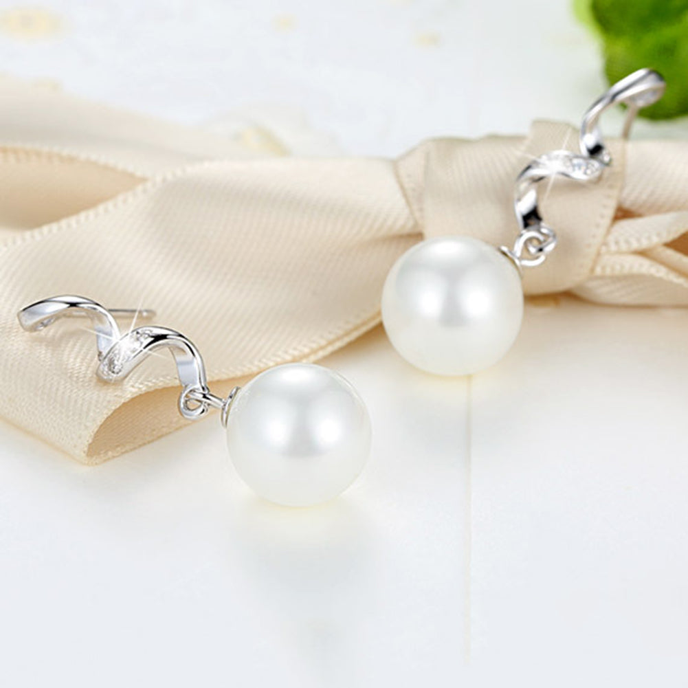 MilkySkinForever Wavy Rhinestone Faux Pearl Long Drop Earrings Jewelry Women Valentine's Day Gift