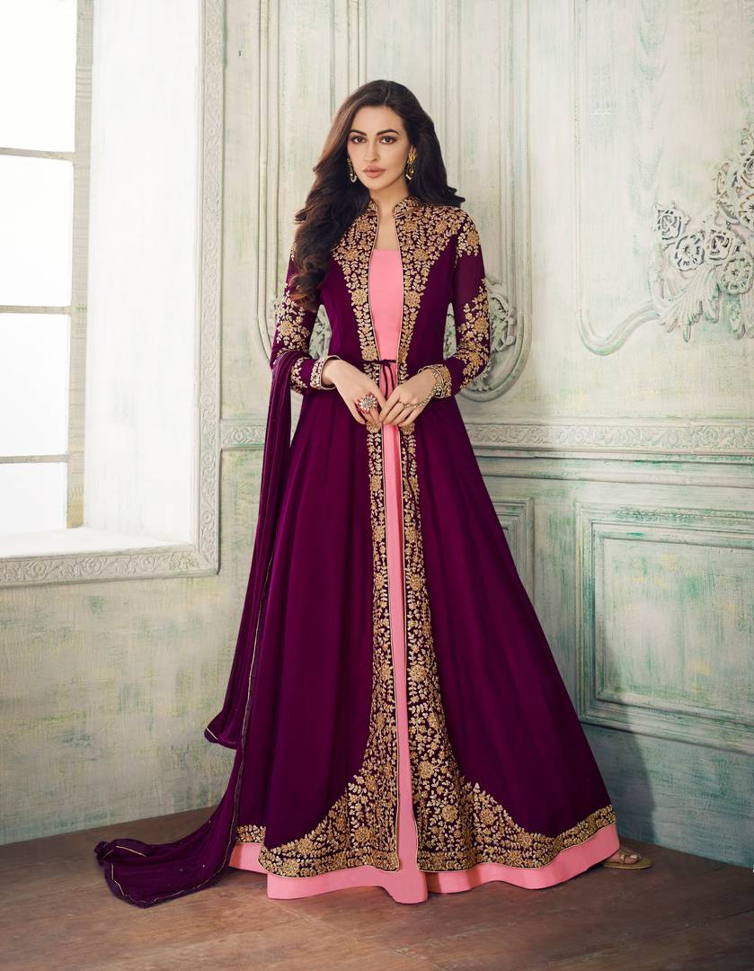 Purple Color Faux Georgette Embroidery With Stone Work Salwar Suit Dupatta