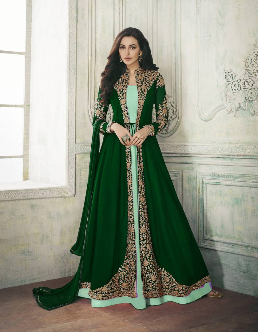 Green Color Faux Georgette Embroidery With Stone Work Salwar Suit Dupatta