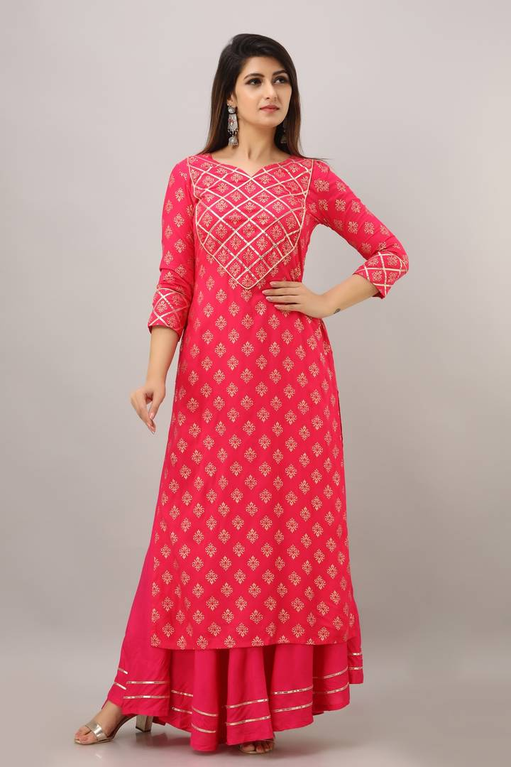 Womens Rayon Kurti Gold Printed With Skirt
