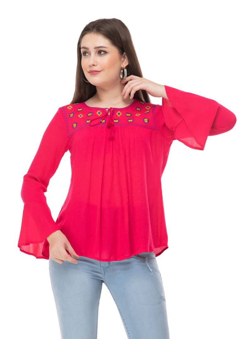 Pink Cotton Embroidered Bell Sleeve Top