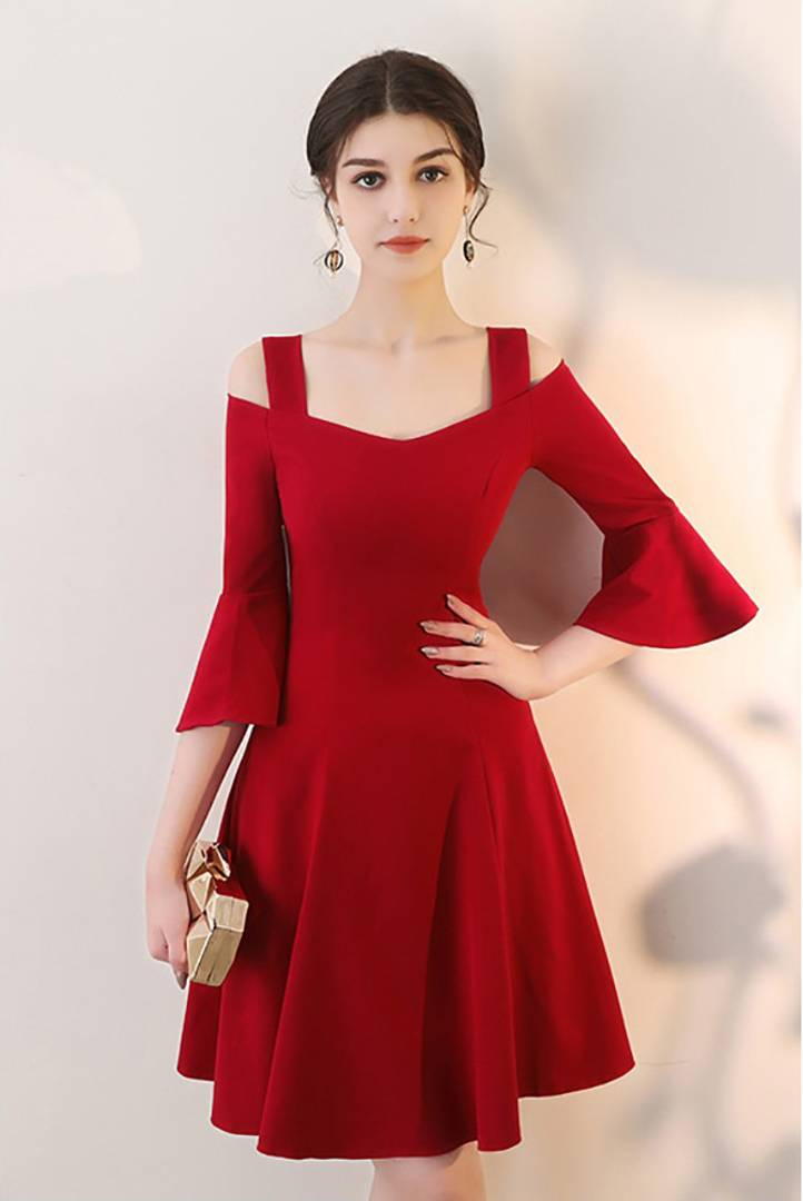 Women Red Bell Sleeve Cold Shoulder Hosery Short Dress