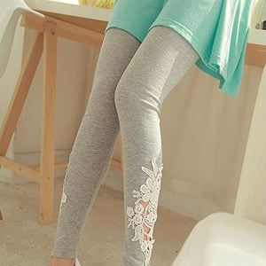 MilkySkinForever Women Lace Flower Fitness Pant Leggings Slim Elastic Ankle Length Trousers