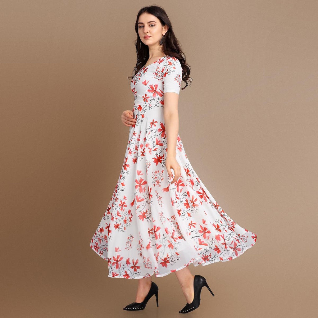 Classy White-Red Colored Party Wear Printed Georgette Gown