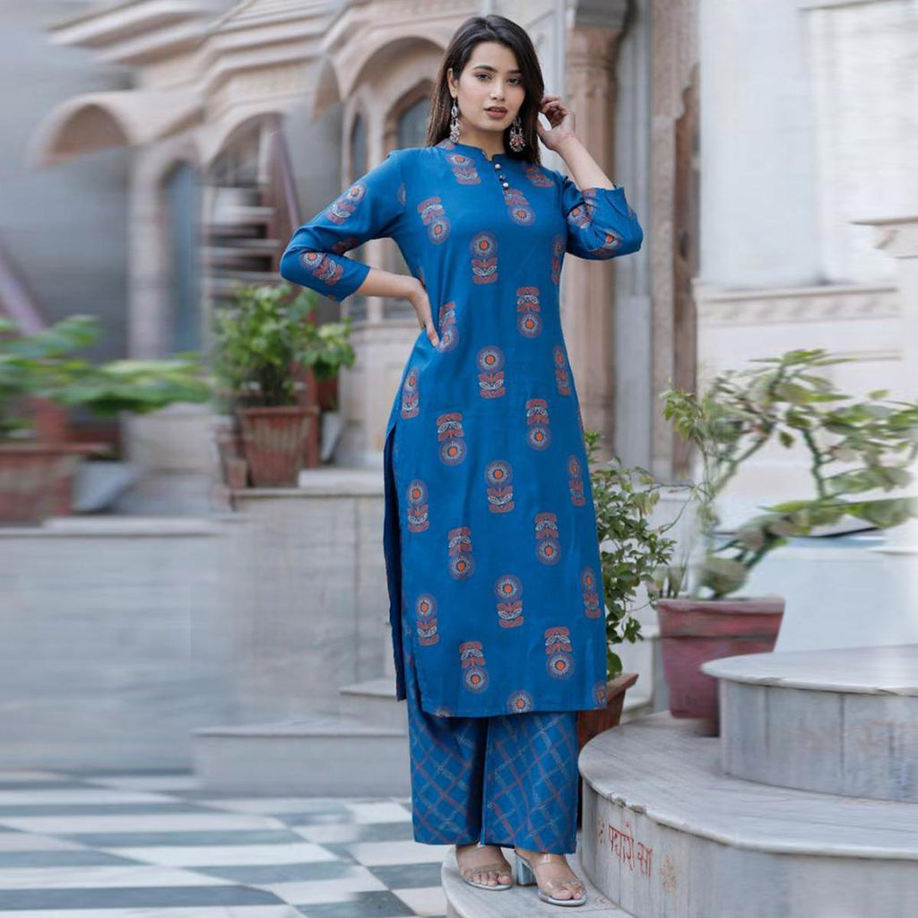 Exceptional Blue Colored Casual Wear Printed Knee Length Rayon Kurti-Palazzo Set