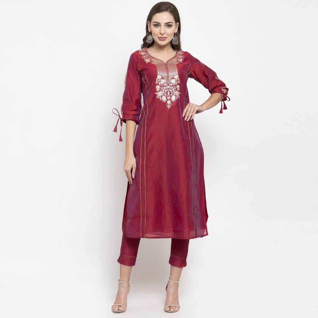 Entrancing Maroon Colored Party Wear Embroidered Calf Length Straight Cotton-Chanderi Silk Kurti-Pant Set