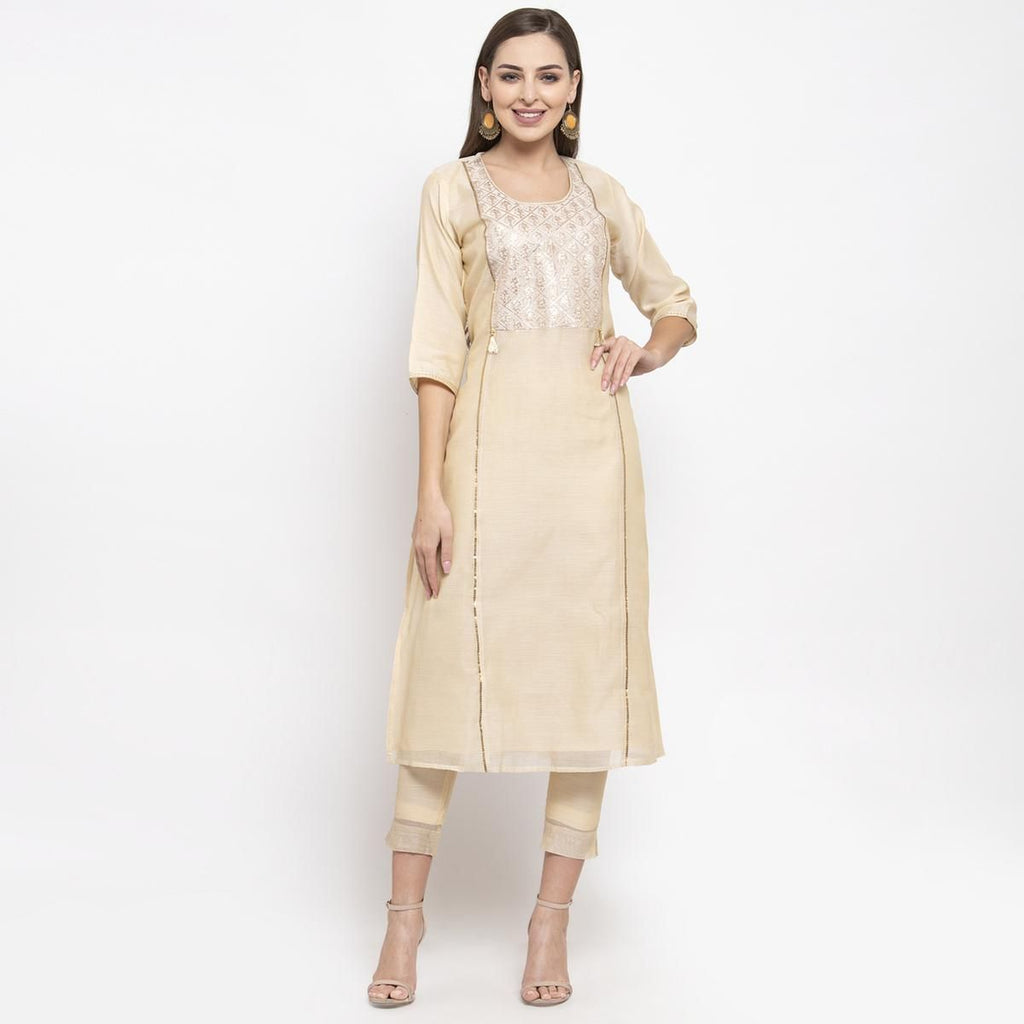 Arresting Cream Colored Party Wear Embroidered Calf Length A-Line Cotton-Chanderi Silk Kurti-Pant Set