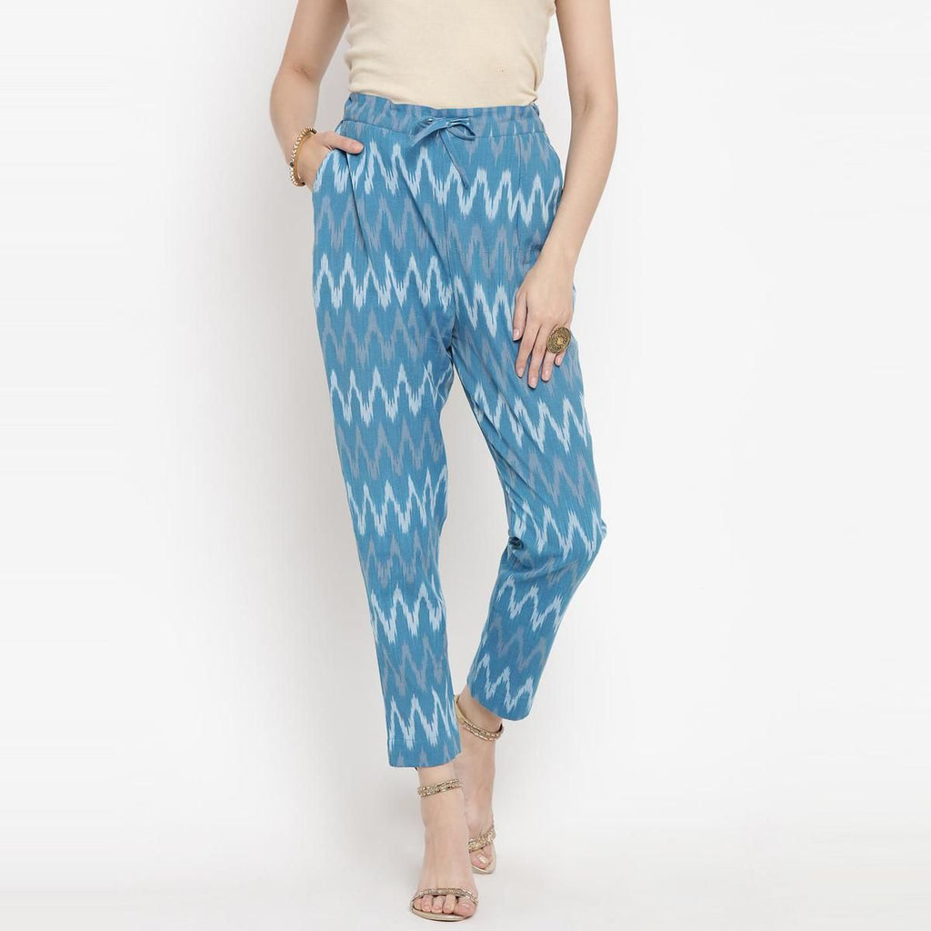 Basic Blue Colored Printed Ikat Handloom Cotton Trouser