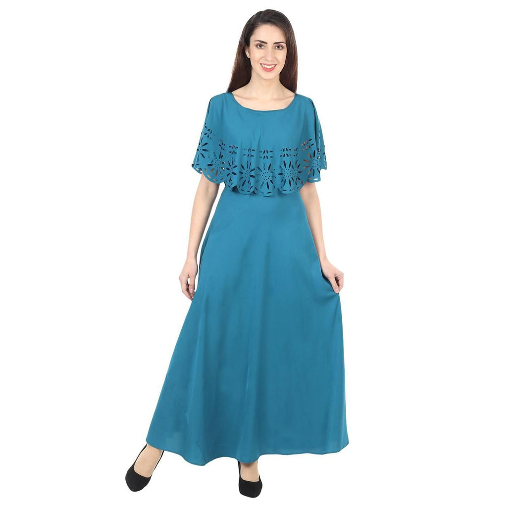 Teal Blue Colored Casual Wear Floral Crepe Cape Gown