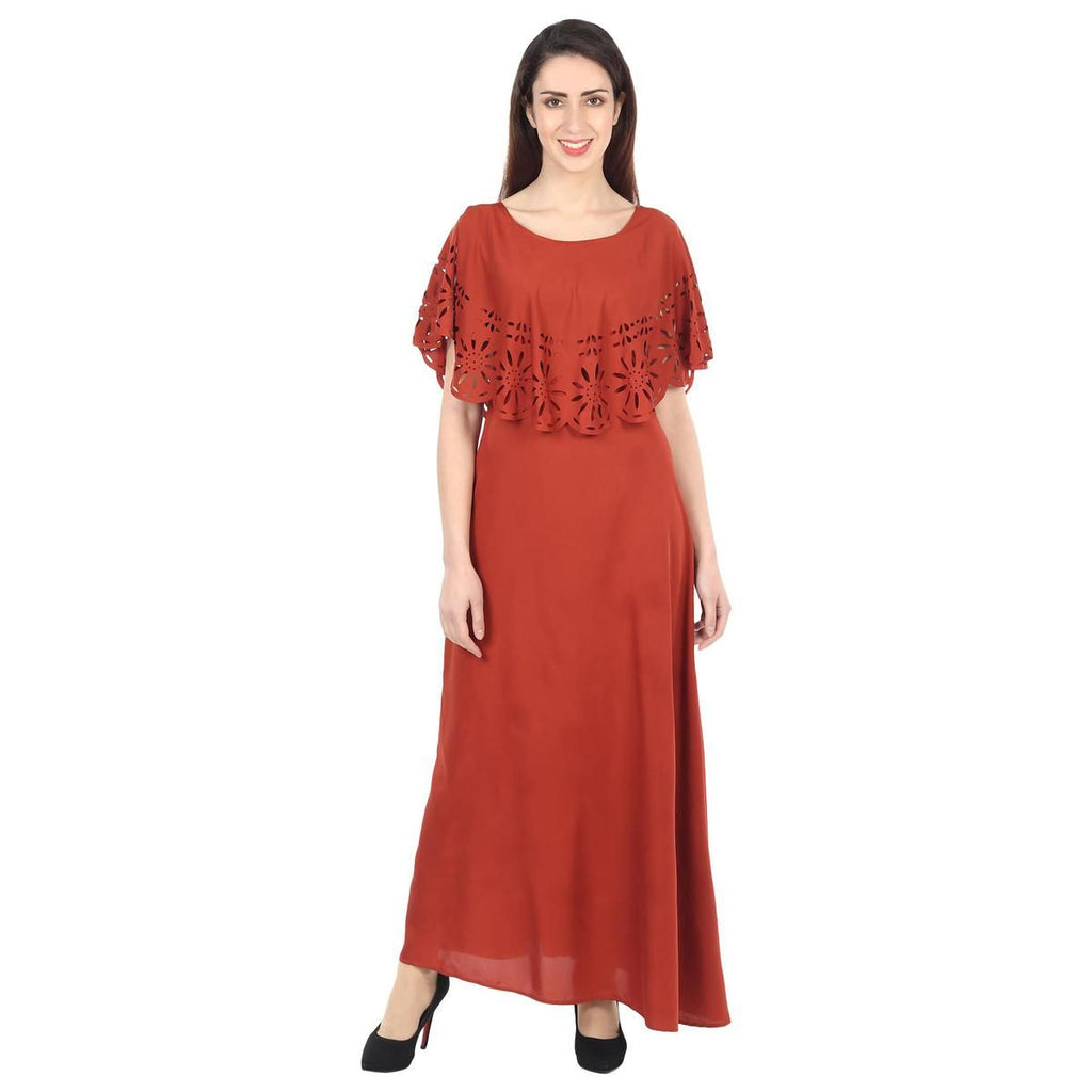 Maroon Colored Casual Wear Floral Crepe Cape Gown