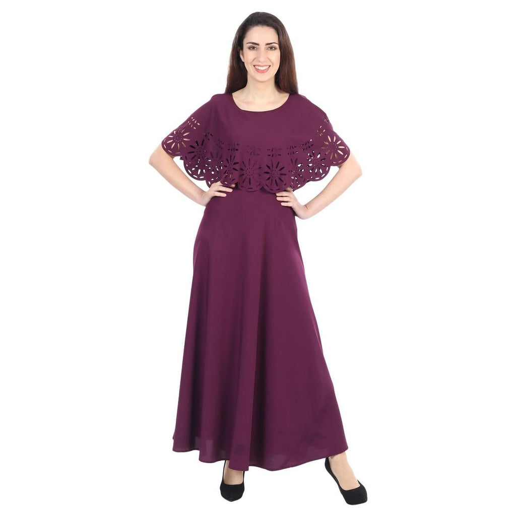 Purple Colored Casual Wear Floral Crepe Cape Gown