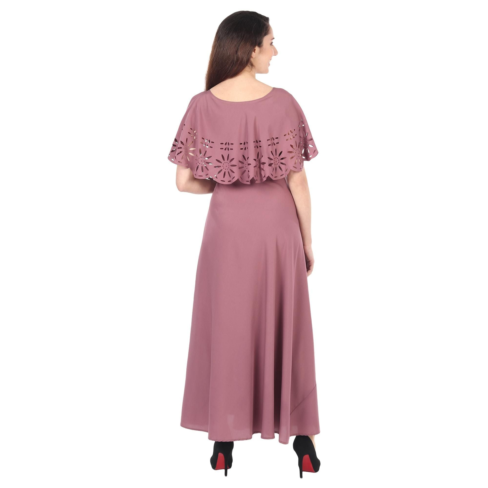 Mauve Colored Casual Wear Floral Crepe Cape Gown