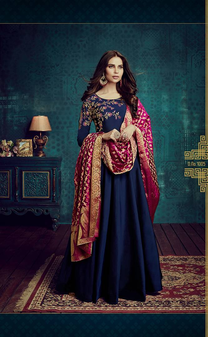 Women's Blue Embroidered Tafeta Silk Semi stitched Anarkali Suit