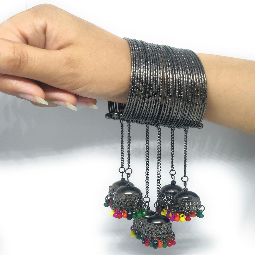 Trendy Black Adjustable Bangle With Colorful Tassel Pack Of 1