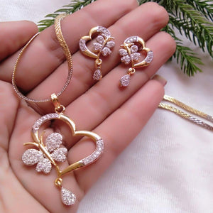 Attractive Gold Plated American Diamond Alloy Pendant Set