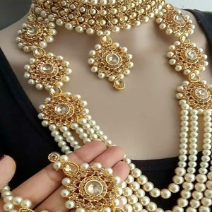Trending Gold Crystal and Pearl Necklace Choker Combo Set with Maang Tikka for Women and Girls