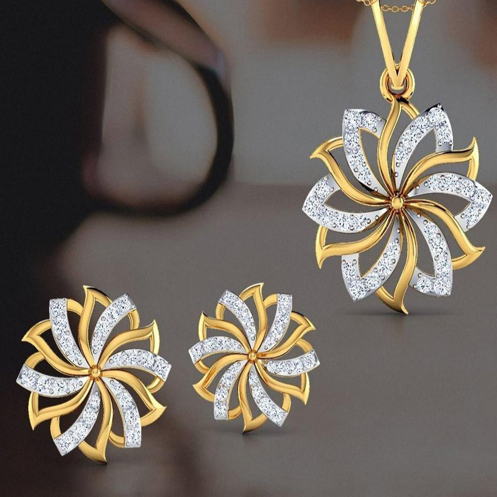Breathtaking Gold Plated American Diamond Alloy Pendant Set