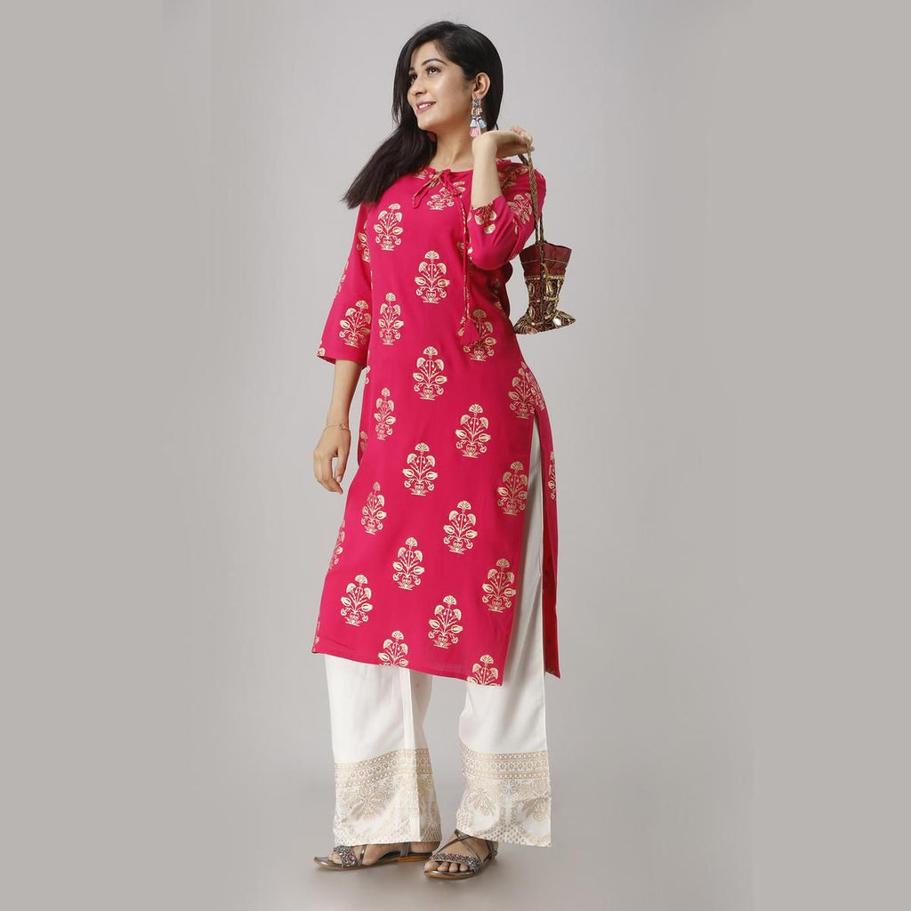 Elegant Pink Colored Party Wear Foil Printed Straight Calf Length Kurti-Palazzo Set