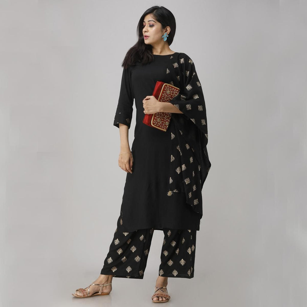 Radiant Black Colored Party Wear Foil Printed Straight Calf Length Kurti-Palazzo Set With Dupatta